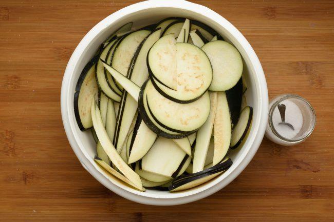 Sliced eggplant salt -gp- SunCakeMom