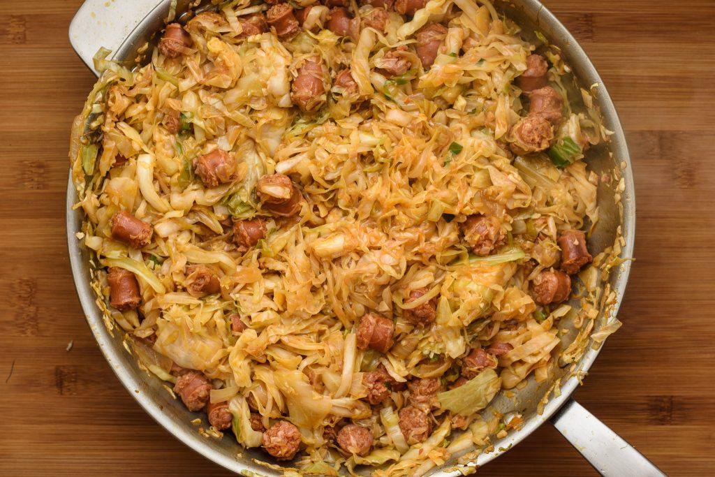 Fried cabbage sausage kielbasa recipe - SunCakeMom